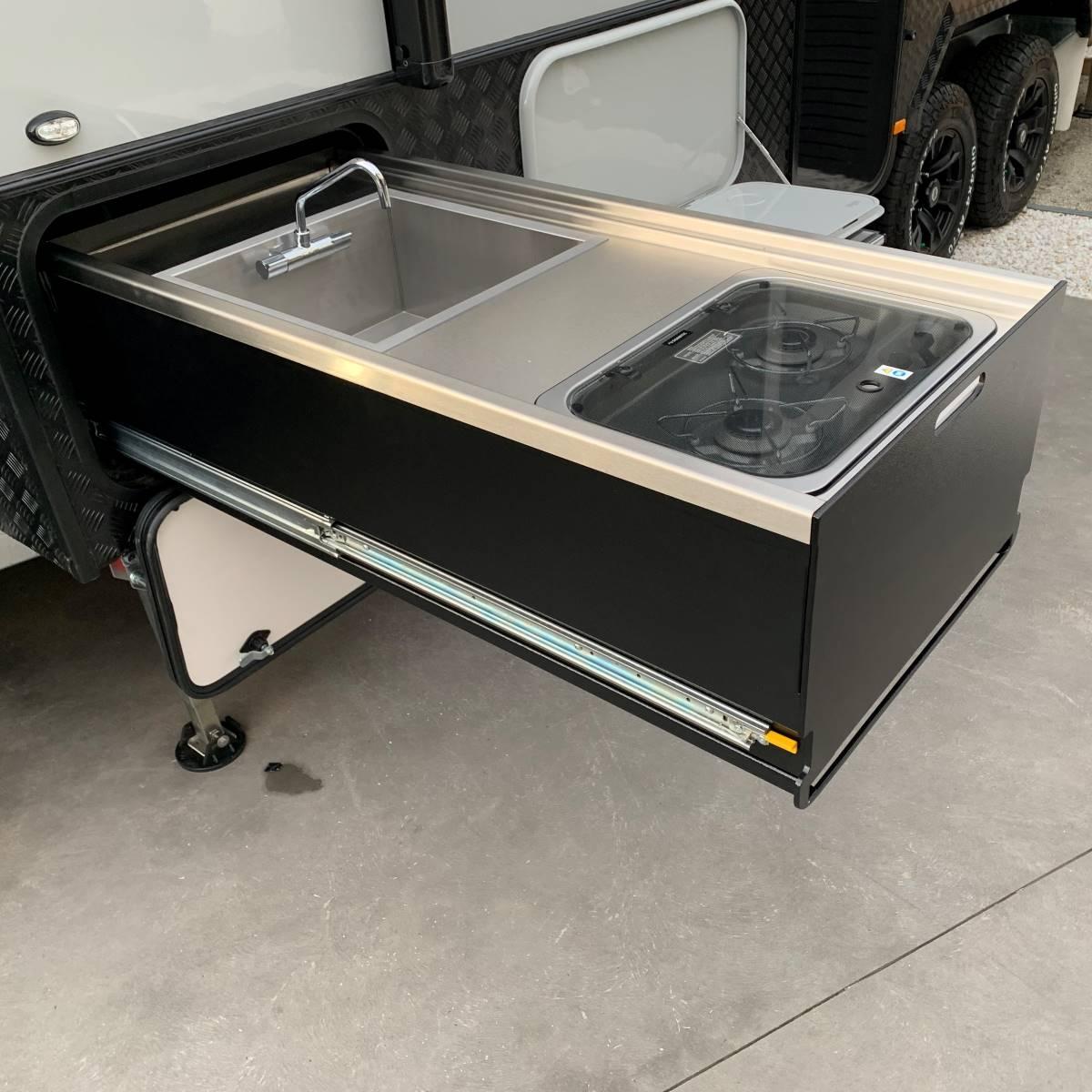 metal cooktop and sink